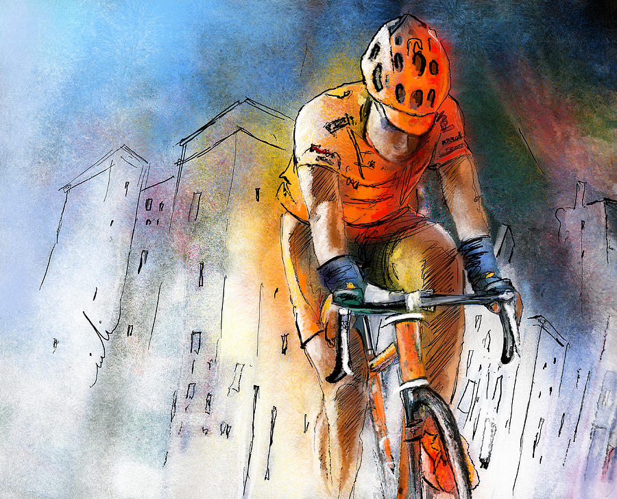 Sports Painting - Cycloscape 01 by Miki De Goodaboom