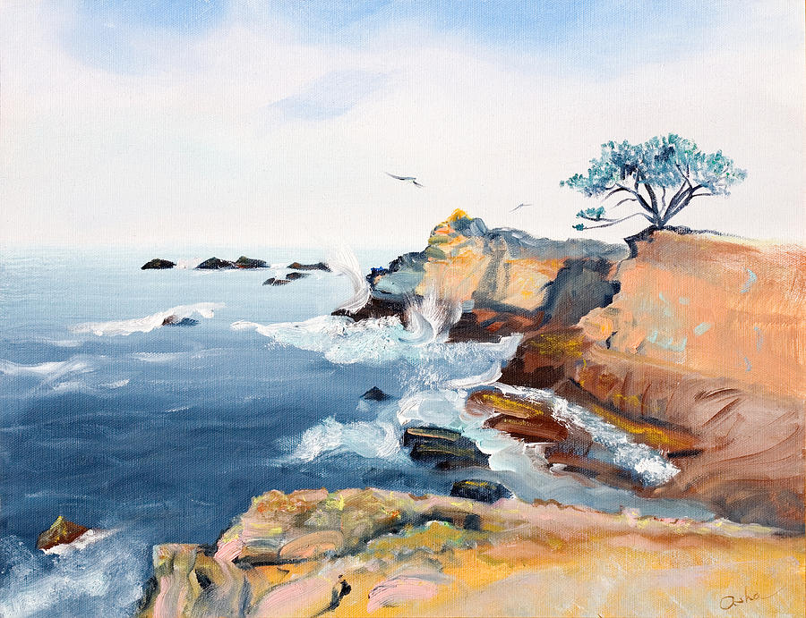 Oil On Canvas Painting - Cypress And Seagulls by Asha Carolyn Young