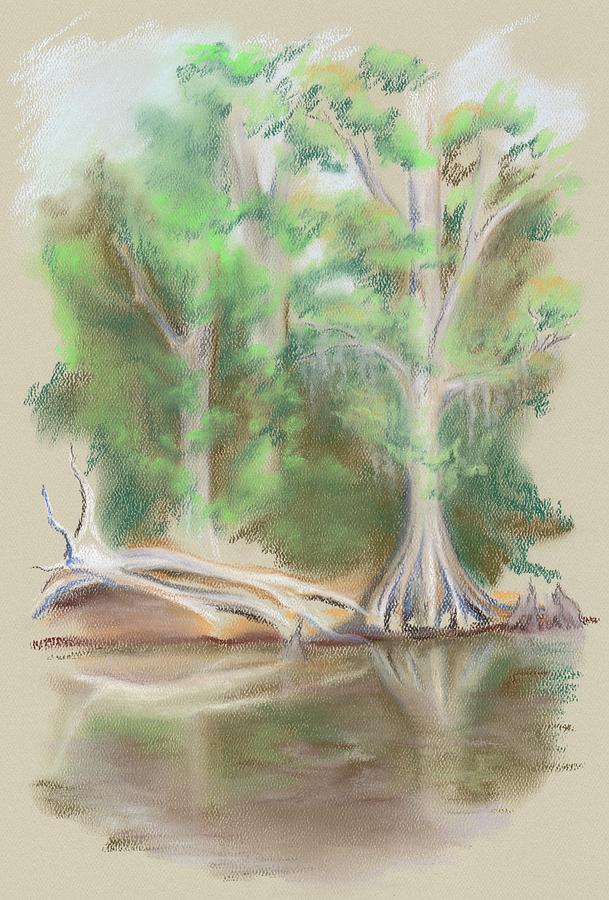 Landscape Pastel - Cypress By The Waccamaw River by MM Anderson