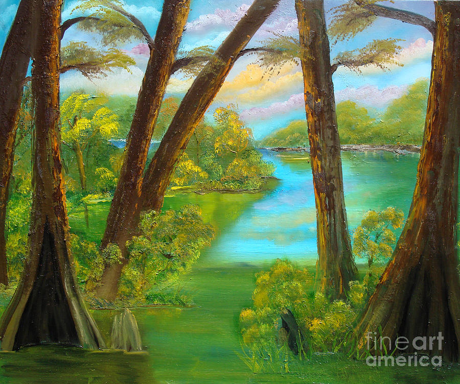 Cypress Painting - cypress Hidout by Darlene Green