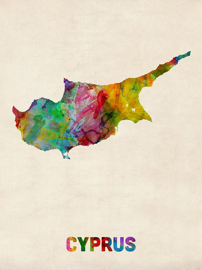 Map Art Digital Art - Cyprus Watercolor Map by Michael Tompsett