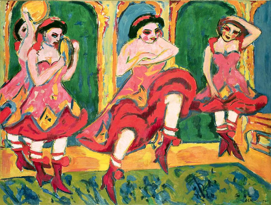 Die Brucke Painting - Czardas Dancers, 1908-20 by Ernst Ludwig Kirchner