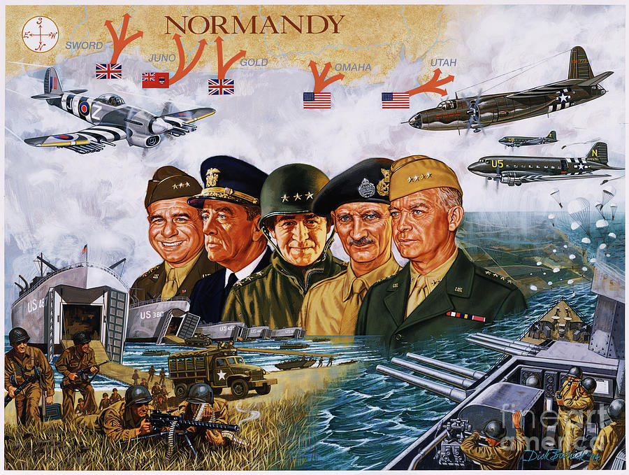 Realism Painting - D Day 6th Of June by Dick Bobnick