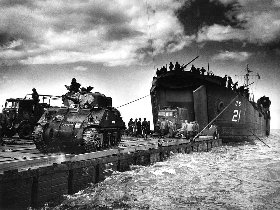 Human Photograph - D-day Landings Harbour by Us National Archives