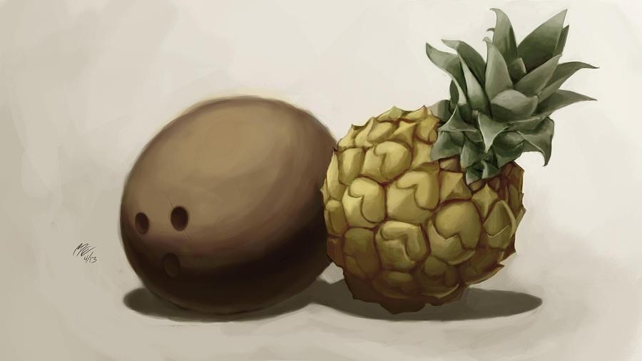 Online Art Gallery Digital Art - Da Pinepple With Cocoanut  by Christopher Evans