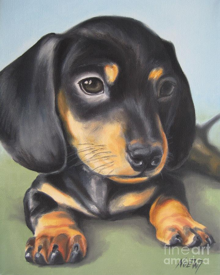 Pet Painting - Dachshund Puppy by Jindra Noewi