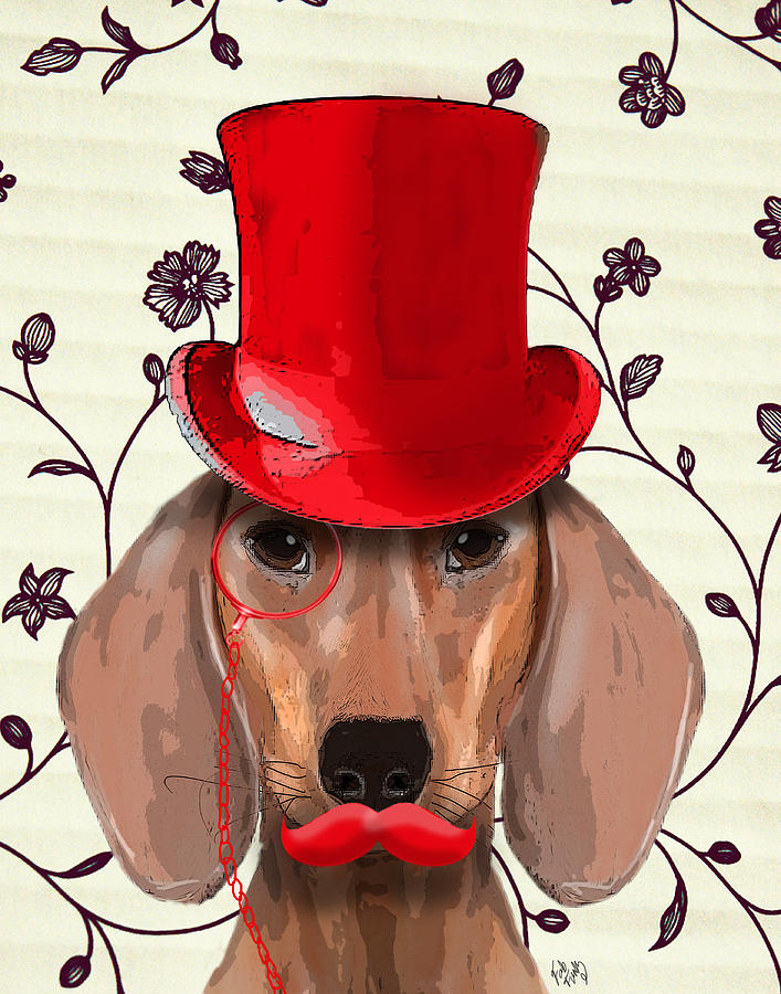 Dachshund Framed Prints Digital Art - Dachshund Red Hat And Moustache by Kelly McLaughlan