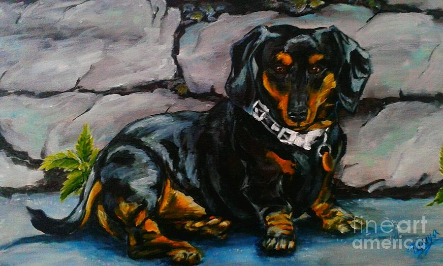 Stone Painting - Dachshund by Tanya Arcuri-Gout