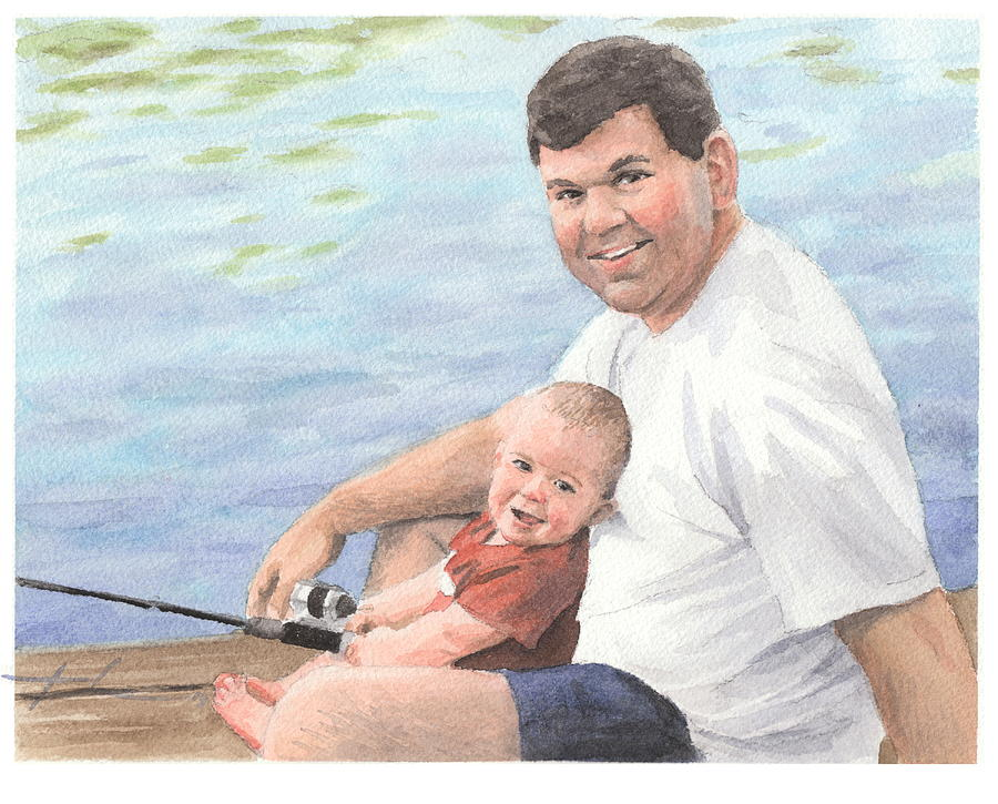 00c61d9c80cb3 Dad And Baby Boy Fishing Watercolor Portrait by Mike Theuer