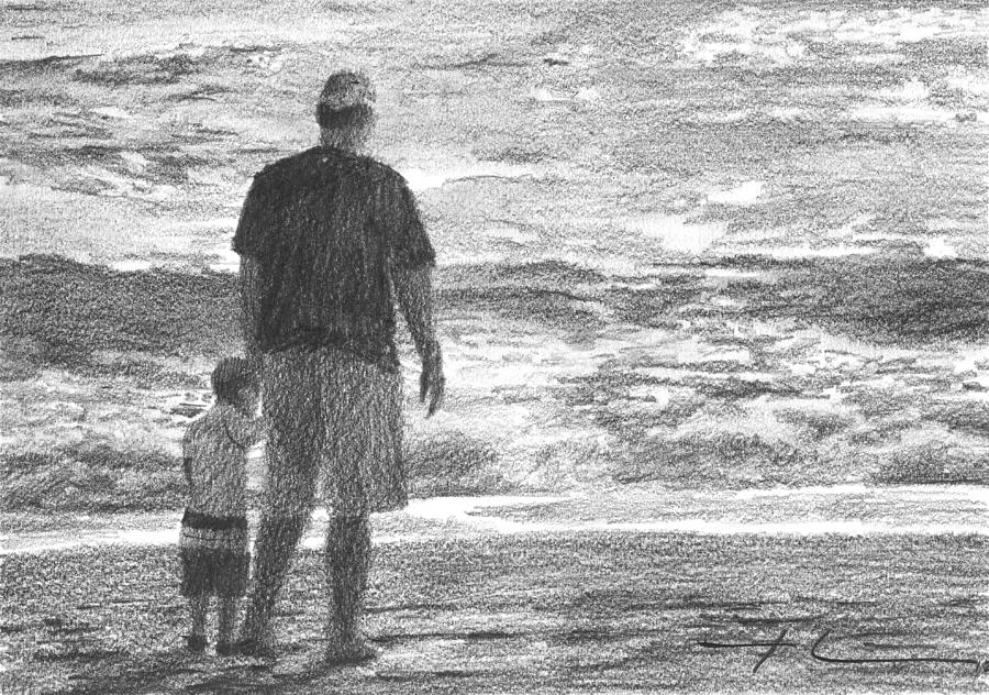 Dad And Son On Beach Pencil Portrait Drawing by Mike Theuer