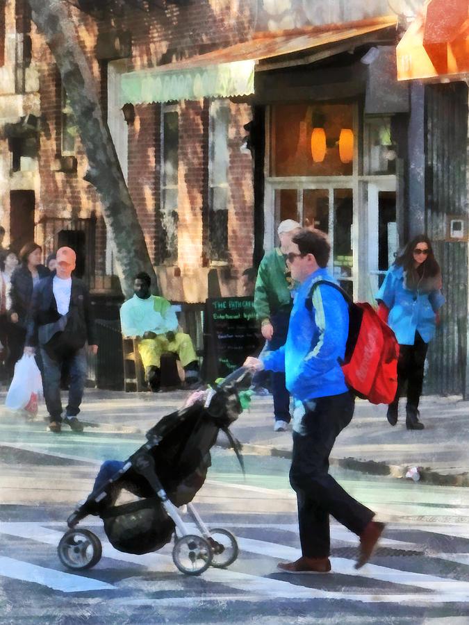 Greenwich Village Photograph - Daddy Pushing Stroller Greenwich Village by Susan Savad