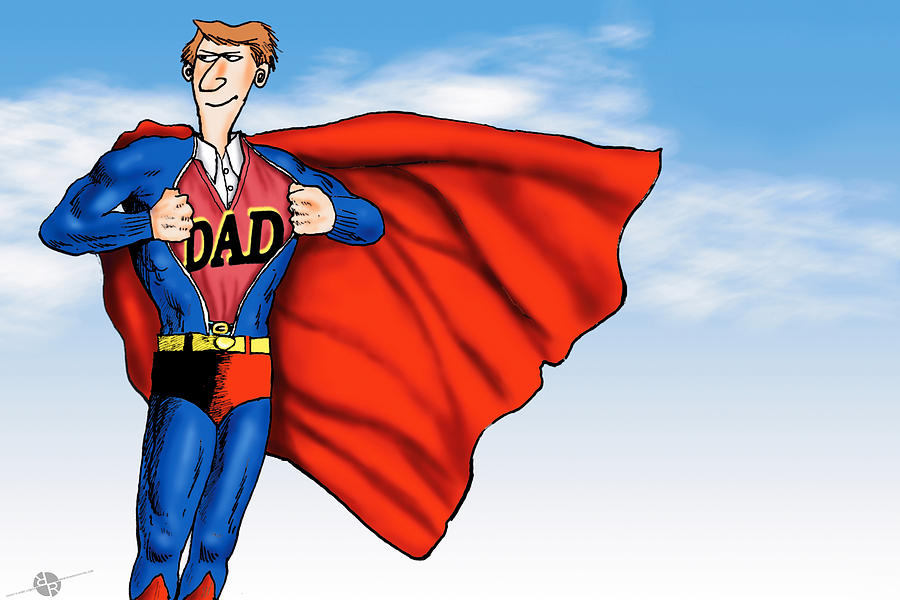 Daddys Home Painting - Daddys Home Superman Dad by Tony Rubino