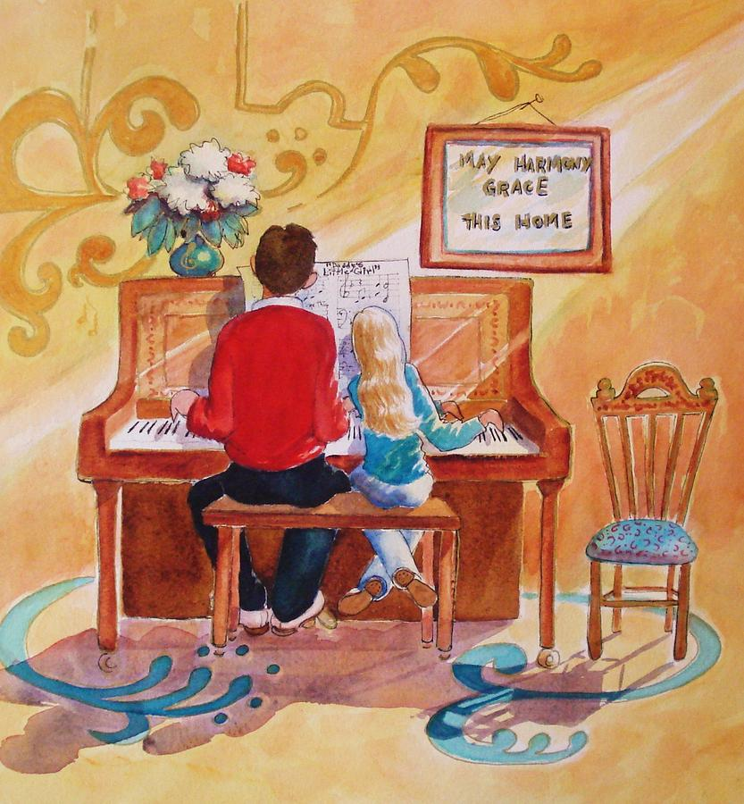 Piano Painting - Daddys Little Girl by Marilyn Jacobson