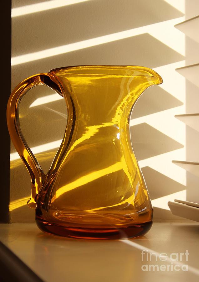 Glass Photograph - Dads Amber Pitcher By Blenko Glass by Karen Adams