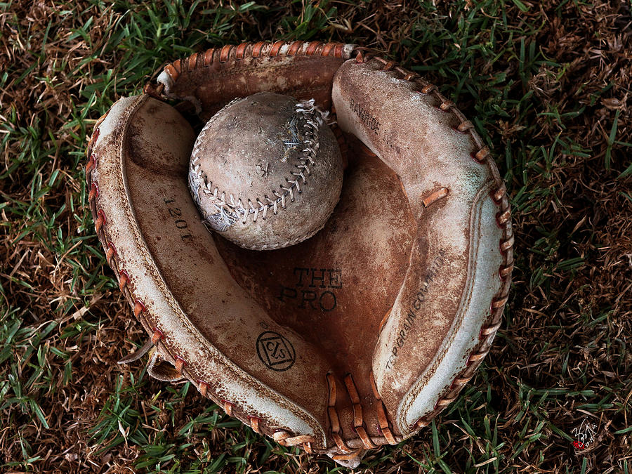 Baseball Photograph - Dads Old Ball And Glove by Lorenzo Williams