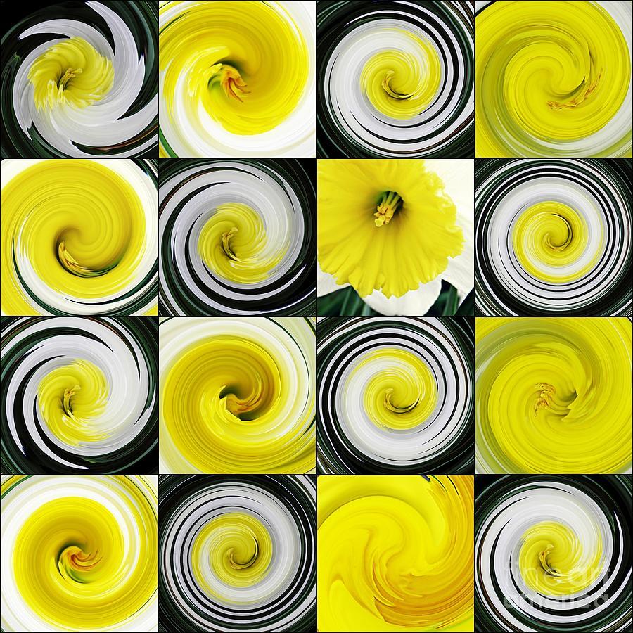 Daffodil Digital Art - Daffodil Spring Mosaic by Sarah Loft