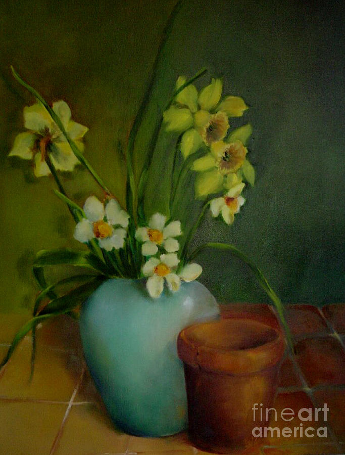 Greeting Card Painting - Daffodils                   Copyrighted by Kathleen Hoekstra