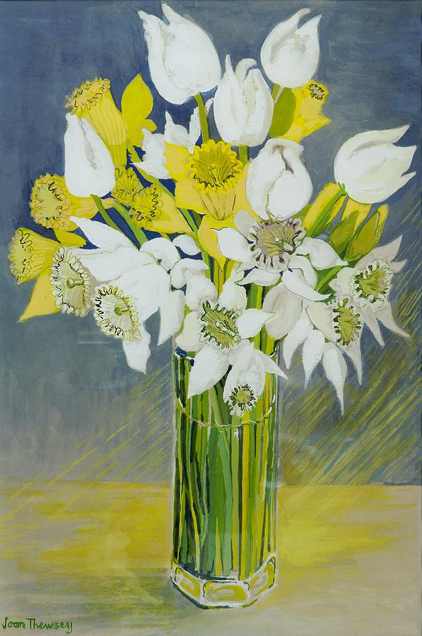 Daffodil Painting - Daffodils And White Tulips In An Octagonal Glass Vase by Joan Thewsey