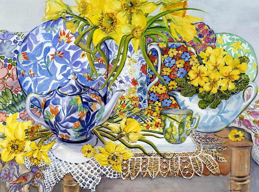 Embroidered Painting - Daffodils Antique Jugs Plates Textiles And Lace by Joan Thewsey