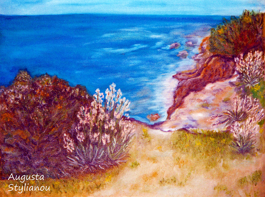 Landscape Painting - Daffodils At The Beach by Augusta Stylianou