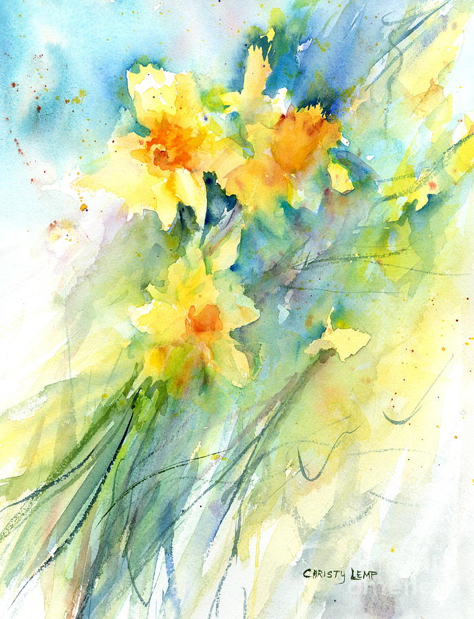 Daffodils Painting - Daffodils by Christy Lemp