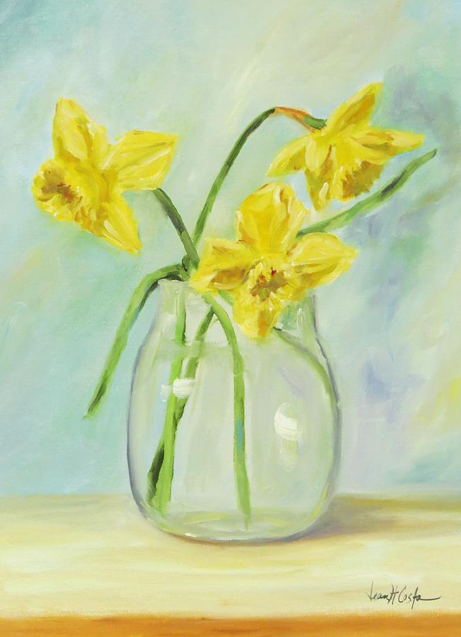 Daffodils In Glass Vase Painting By Jean Costa