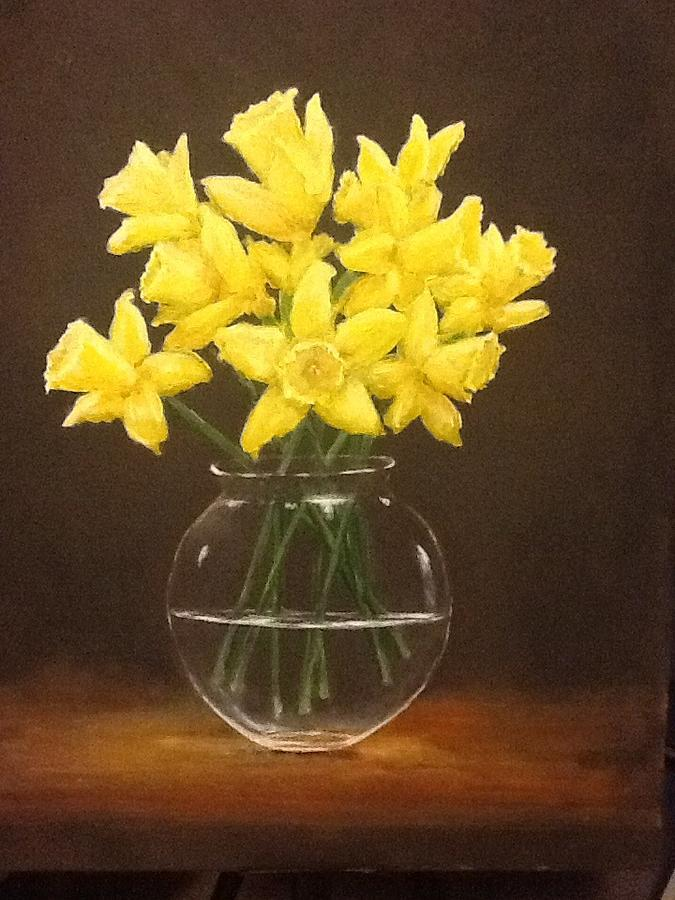 Daffodils In Vase Painting By Anna Mair
