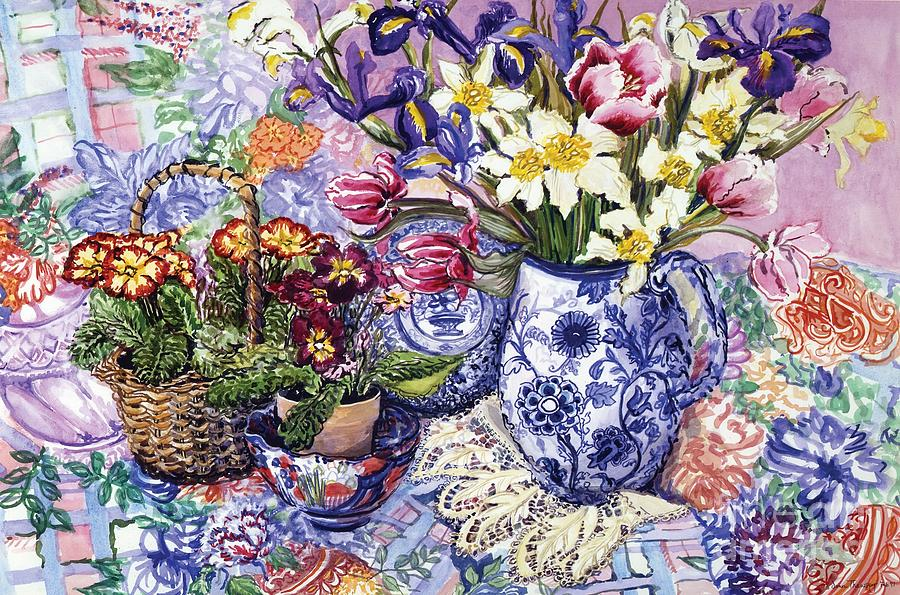 Still Painting - Daffodils Tulips And Iris In A Jacobean Blue And White Jug With Sanderson Fabric And Primroses by Joan Thewsey