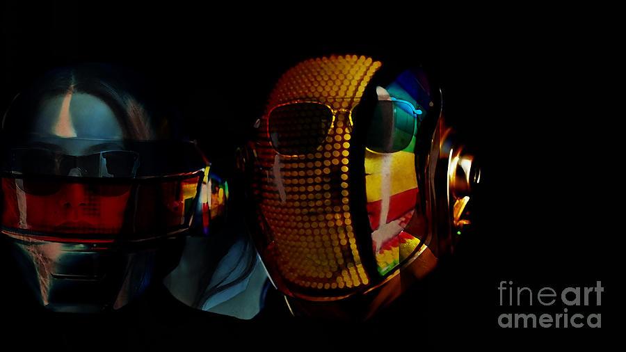 Tron Paintings Mixed Media Mixed Media - Daft Punk Pharrell Williams  by Marvin Blaine