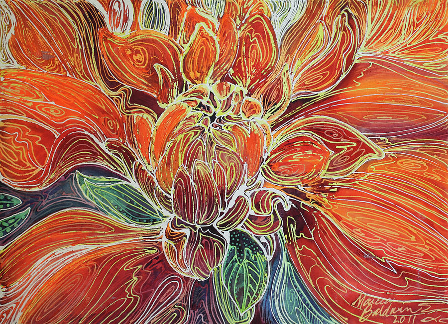 Dahlia Floral Abstract Painting