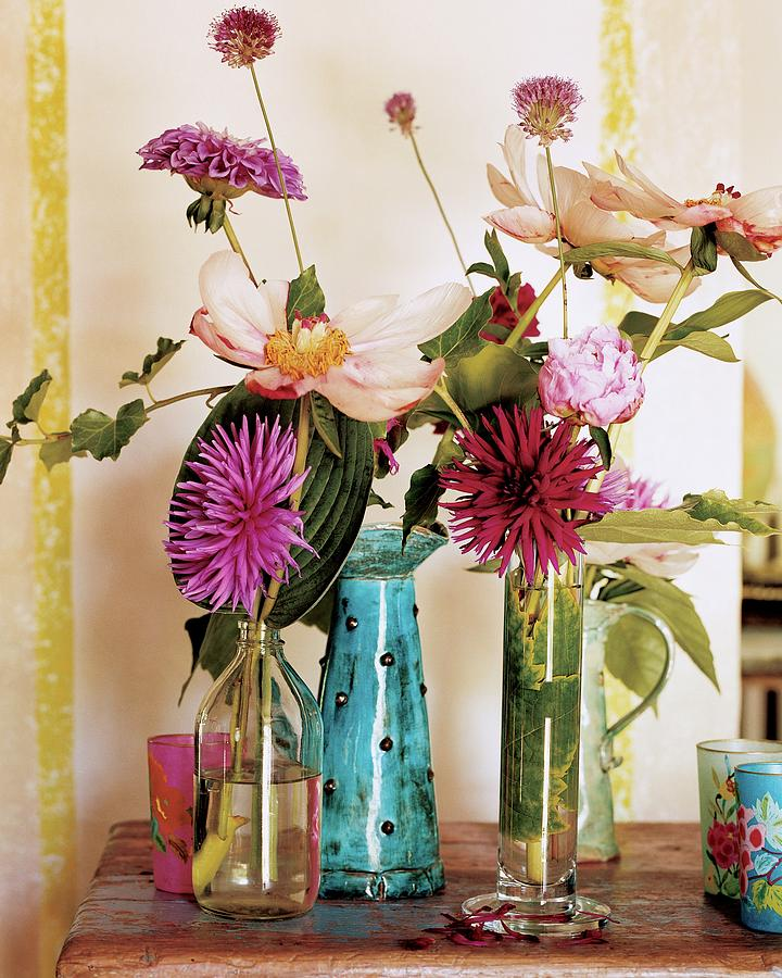 Dahlias And Peonies In Majolica Vases Photograph by James Merrell
