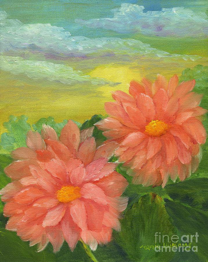 Dalias Painting - Dahlias At Sunrise  by Maria Williams