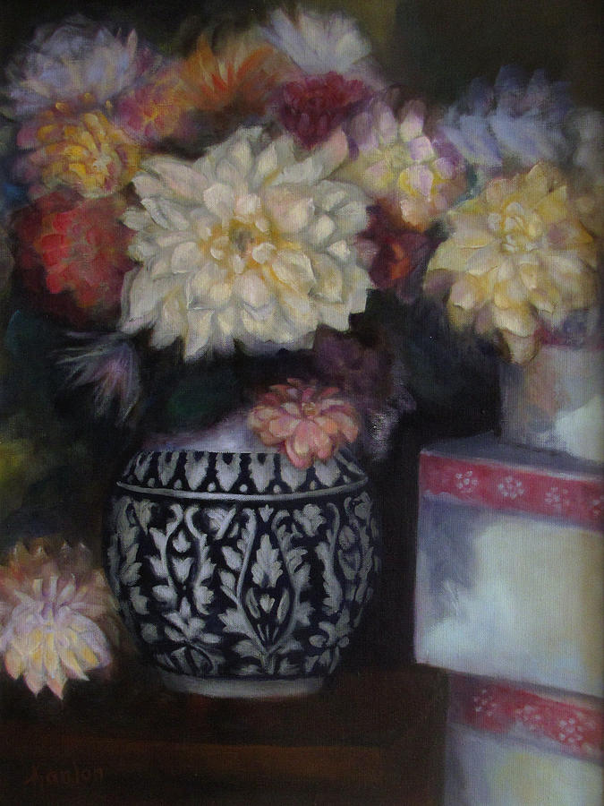 Oil Painting - Dahlias by Susan Hanlon