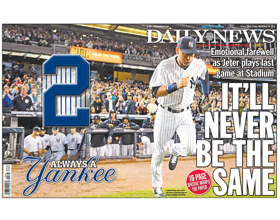 Daily News Front Page Wrap Derek Jeter Photograph by New York Daily News