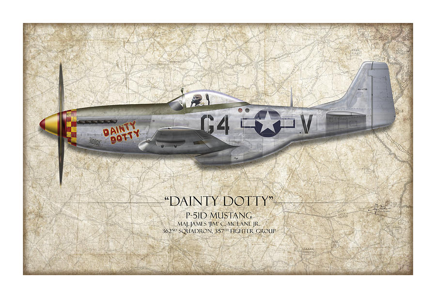 Aviation Painting - Dainty Dotty P-51d Mustang - Map Background by Craig Tinder