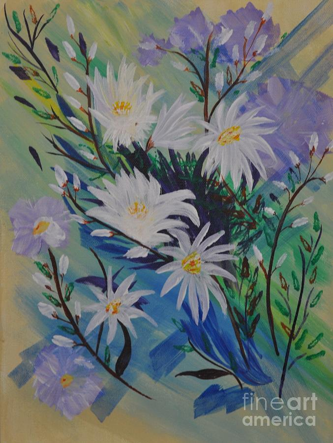Daisies Painting - Daisies and Pussy Willows by Sally Rice