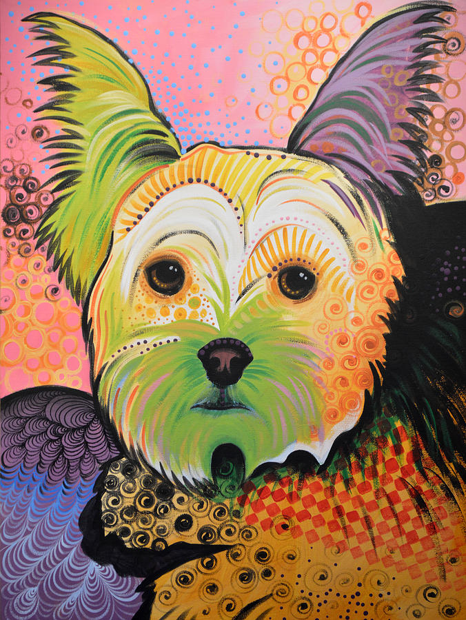 Dog Painting - Daisy Abstract Dog Art ...Yorkshire Terrier by Amy Giacomelli