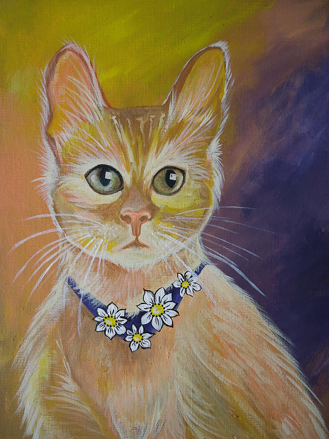 Yellow Cat Painting - Daisy by Leslie Manley
