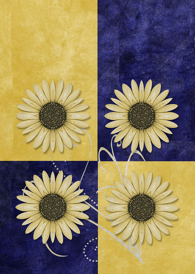 Daisies Digital Art - Daisy Quatro V09 by Variance Collections