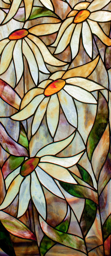 Floral Glass Art - Daisys by David Kennedy