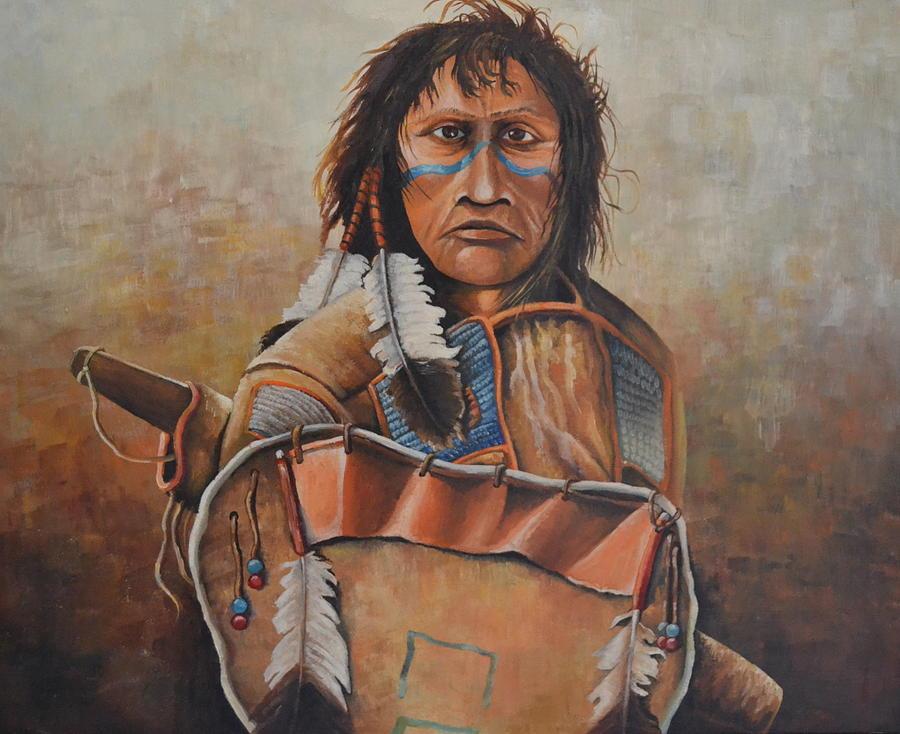 Dakota Warrior Painting by Martin Schmidt