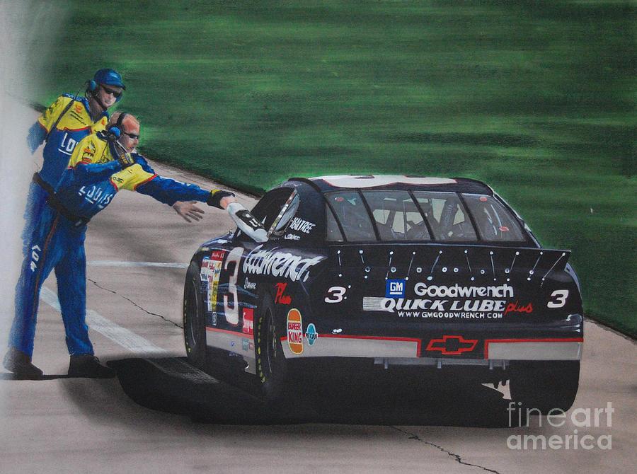 Car Drawing - Dale Earnhardt Wins Daytona 500-pit Road Hand Shake by Paul Kuras