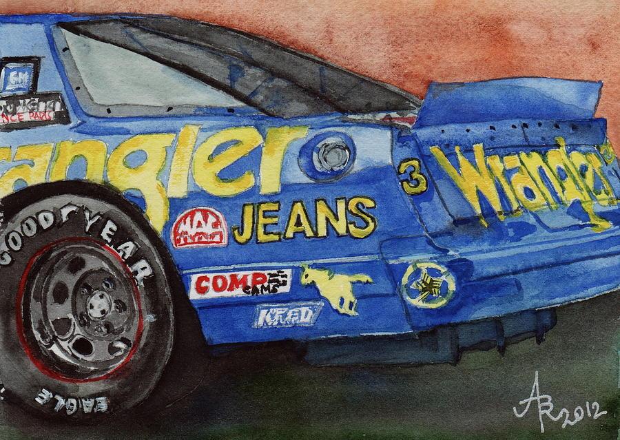 Blue Painting - Dale Earnhardts 1987 Chevrolet Monte Carlo Aerocoupe No. 3 Wrangler  by Anna Ruzsan