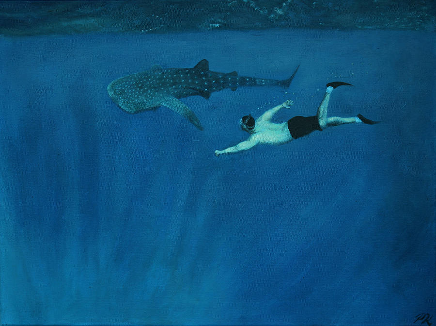 Water Painting - Dale Vs. The Whale Shark by Patrick Kelly