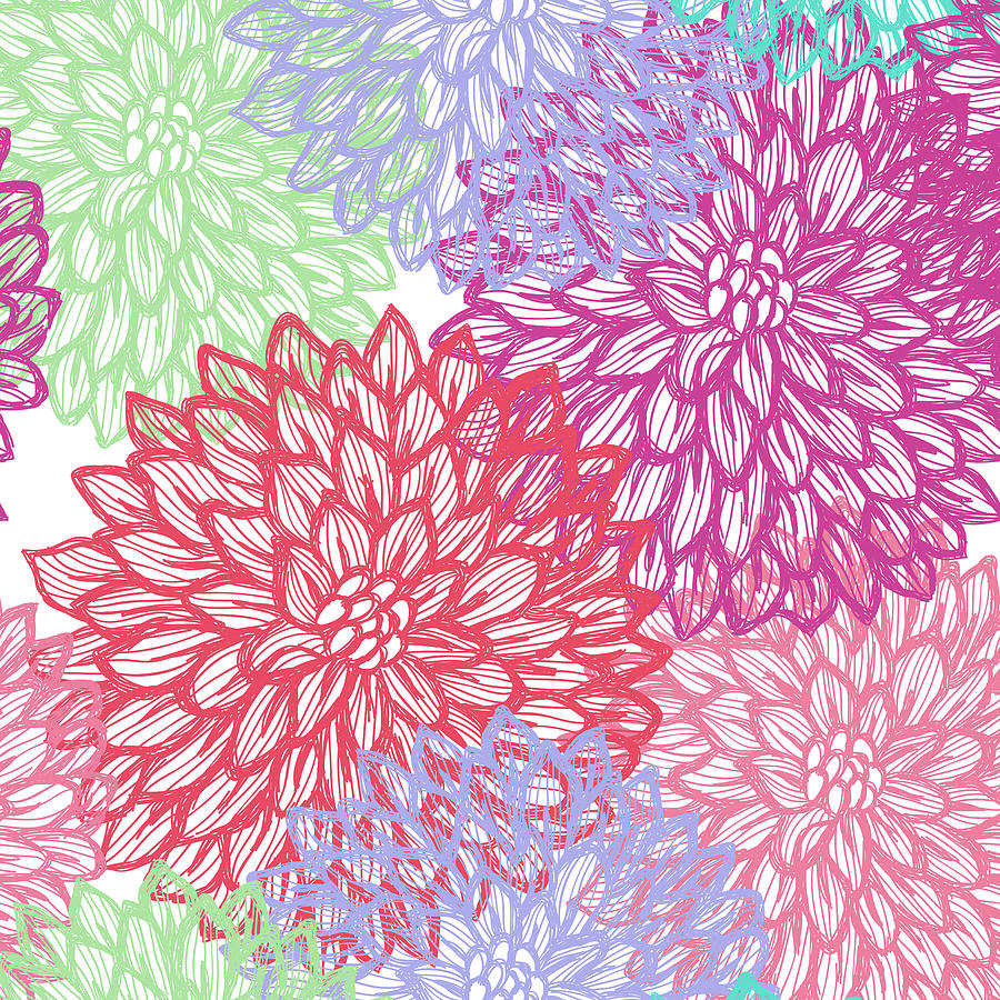 Dalhia Seamless Vector Pattern - Ink Digital Art by Andrea hill