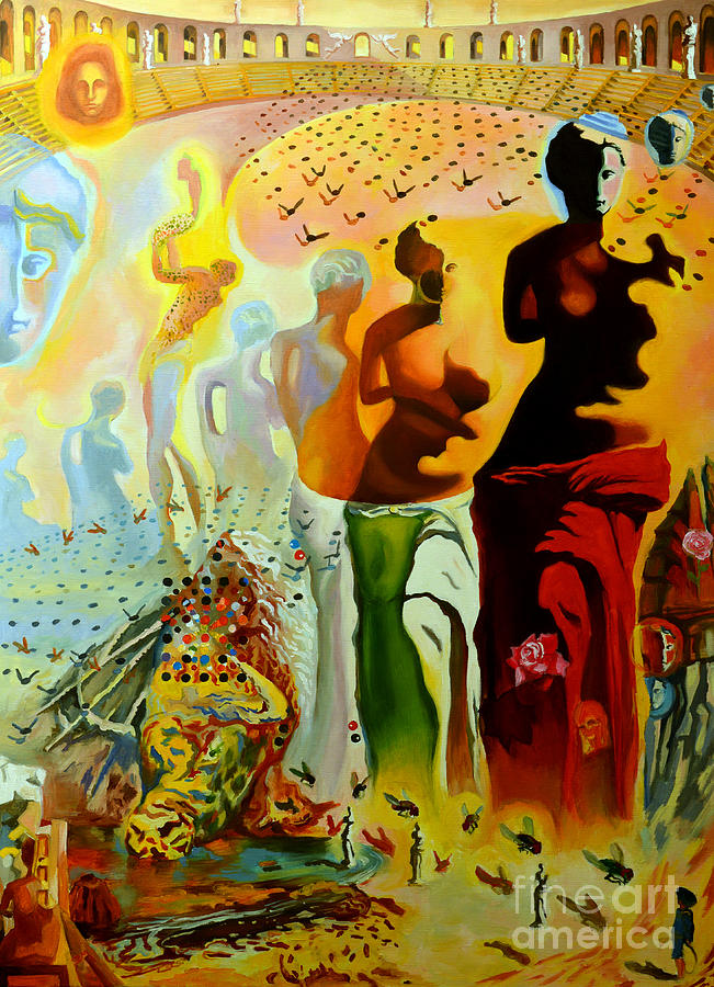 Salvador Dali Painting - Dali Oil Painting Reproduction - The Hallucinogenic Toreador by Mona Edulesco