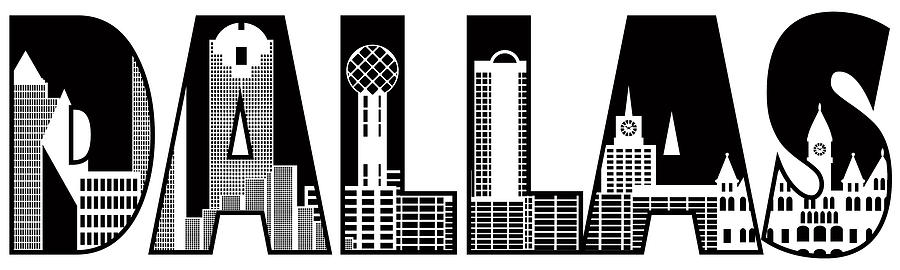 Dallas City Skyline Text Outline Black And White Illustration Photograph