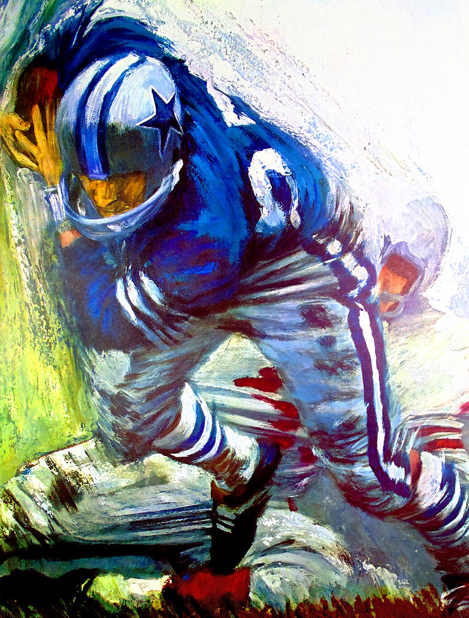 Dallas cowboys 1966 vintage print painting by john farr for Dallas mural artists