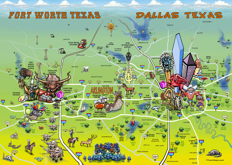 Dallas Fort Worth Cartoon Map Painting by Kevin Middleton