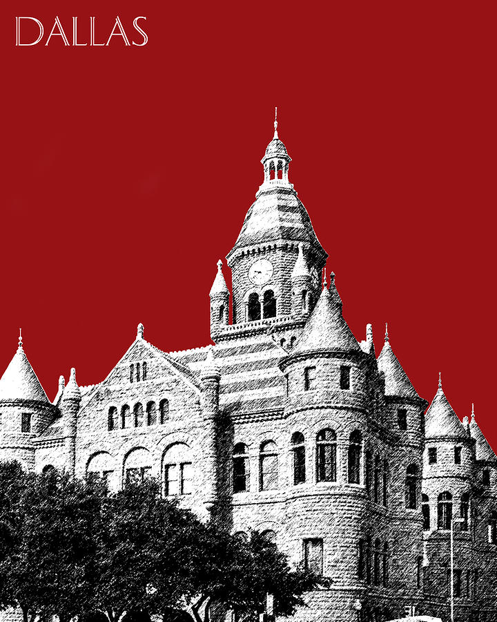 Architecture Digital Art - Dallas Skyline Old Red Courthouse - Dark Red by DB Artist